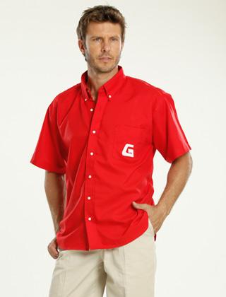 Camisa roja personalizada con logotipo en bolsillo
