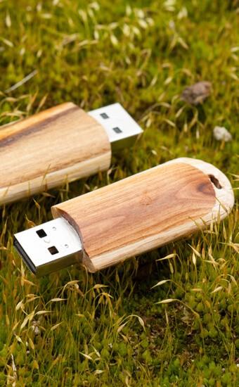 memoria USB de madera sobre hierba