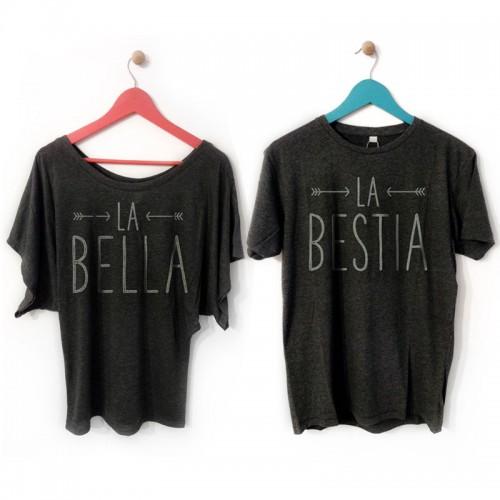 Camisetas personalizadas en color negro con mensaje para él y para ella