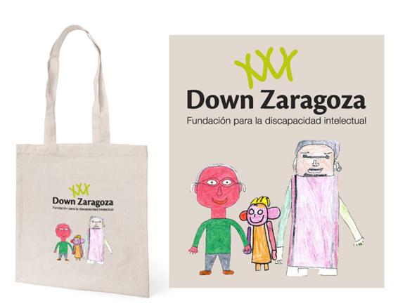 Bolsas publicitarias con diseño de la Fundación Down Zaragoza