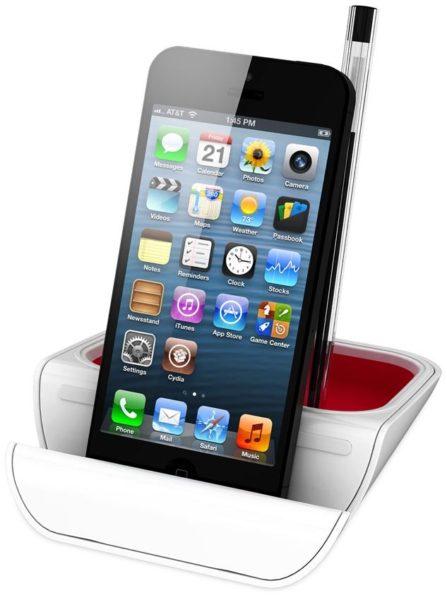 Soporte blanco y rojo para móvil