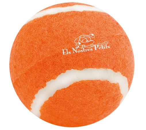 Pelota naranja personalizada con el logotipo de Els Nostres Petits