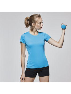 Camisetas técnicas roly montecarlo mujer de poliéster con logo vista 1