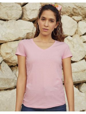 Camisetas manga corta fruit of the loom cuello v valueweight corte femenino con impresión vista 1