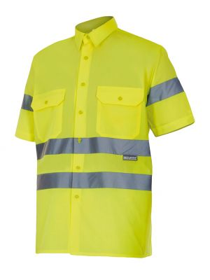 Camisas reflectantes velilla manga corta alta visibilidad 141 de algodon con logo imagen 1