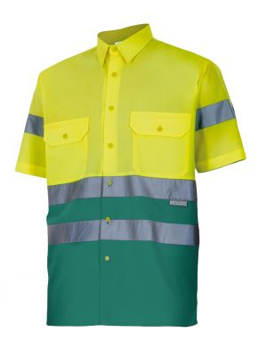 Camisas reflectantes velilla bicolor manga corta alta visibilidad 142 de algodon con logo imagen 1