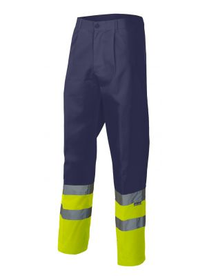 Pantalones reflectantes velilla bicolor alta visibilidad bolsillo en pierna derecha de algodon con impresión vista 1