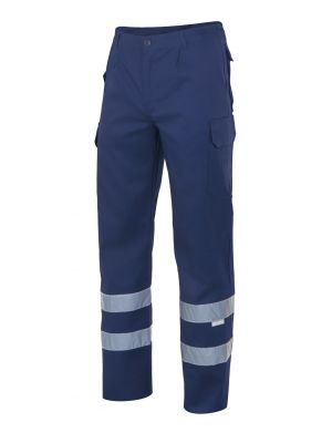 Pantalones reflectantes velilla con cintas multibolsillos de algodon con impresión vista 1