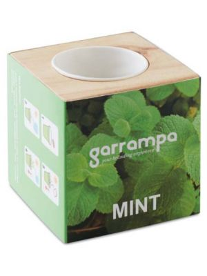Jardinería menta maceta con semillas de menta de varios materiales para personalizar vista 1