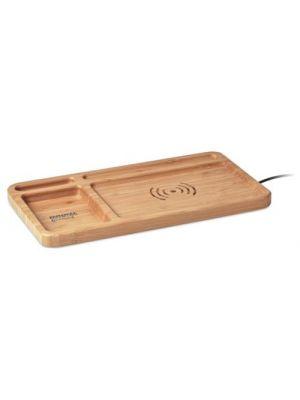 Cargadores inalambricos cleandesk de bambú ecológico con impresión vista 1