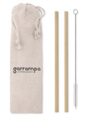 Cocktail natural straw pajita bambú cepillo funda de varios materiales ecológico con impresión vista 1