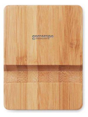 Soportes móviles apoya de bambú ecológico con publicidad vista 1