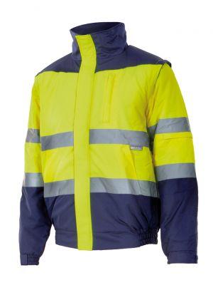 Chaquetas y parkas reflectantes velilla acolchada bicolor alta visibilidad de poliéster con logo imagen 1