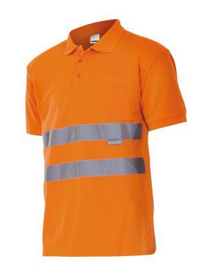 Polos reflectantes velilla manga corta alta visibilidad de poliéster con logo imagen 1