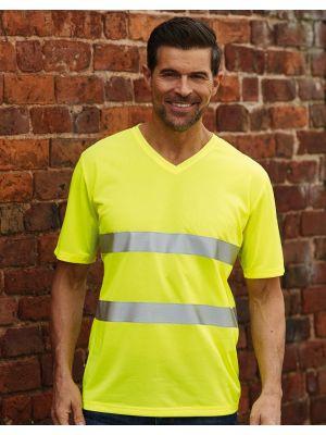 Camisetas reflectantes yoko cuello v fluo con logotipo imagen 1