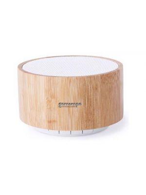 Altavoces denzel de bambú ecológico con publicidad vista 1