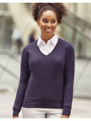 Jerséis punto russell jersey de punto cuello v mujer con impresión imagen 3