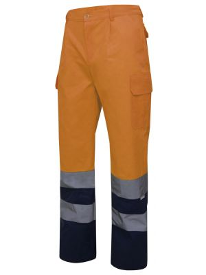 Pantalones reflectantes velilla bicolor multibolsillos alta visibilidad de algodon para personalizar vista 1