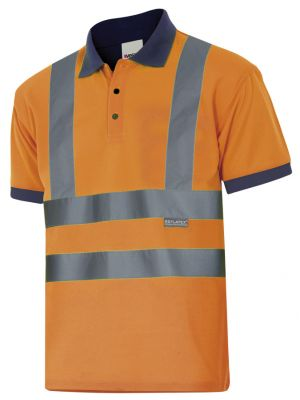Polos reflectantes velilla bicolor manga corta alta visibilidad de poliéster para personalizar vista 1