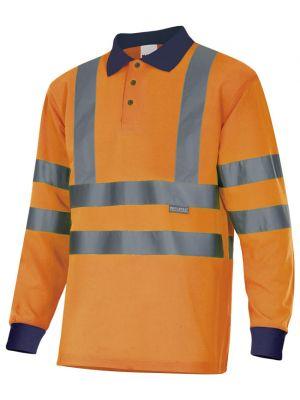 Polos reflectantes velilla bicolor manga larga alta visibilidad cintas en hombros de poliéster vista 1