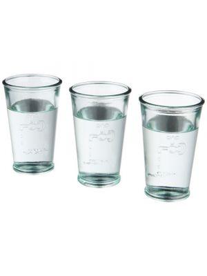 Vasos cocina of 3 glasses of water de vidrio ecológico con logo vista 1
