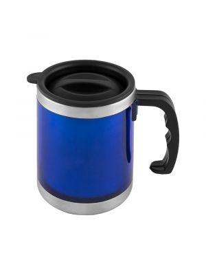Taza termo coffee de metal con logo vista 1