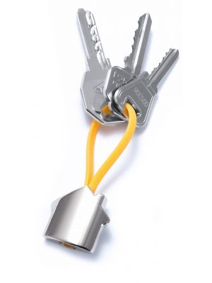 Llaveros forma casa bolky de metal para publicidad vista 1