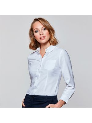 Camisas manga larga roly oxford mujer de algodon con logo vista 1
