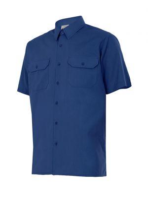 Camisas de trabajo velilla manga corta de algodon con impresión vista 1