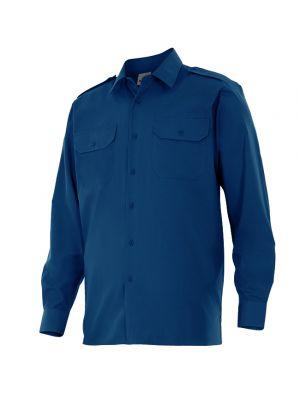 Camisas de trabajo velilla manga larga con galoneras de algodon vista 1