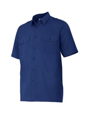 Camisas de trabajo velilla manga corta con galoneras de algodon con impresión vista 1