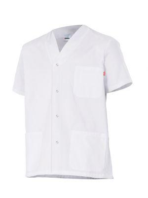 Casacas sanitarias velilla pijama con automáticos manga corta de algodon con impresión vista 1