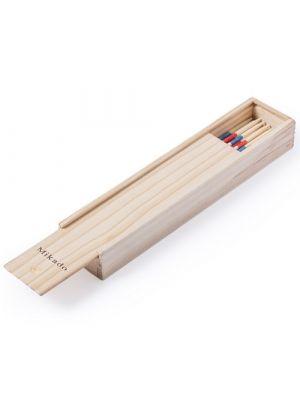 Barajas y juegos de mesa juego habilidad mikado de madera con publicidad vista 1