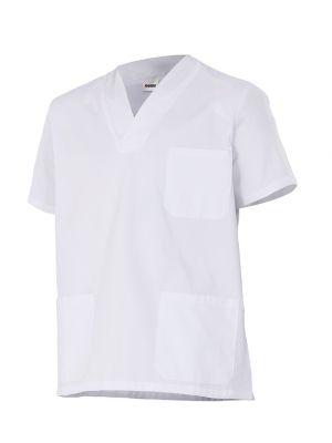 Casacas sanitarias velilla camisola de pijama de color blanco manga corta de algodon vista 1