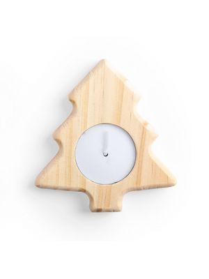 Navidad vela deram de madera con publicidad vista 1