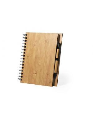 Cuadernos con anillas polnar de bambú ecológico con logo vista 1