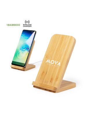 Cargadores inalambricos dimper de bambú ecológico con impresión vista 3