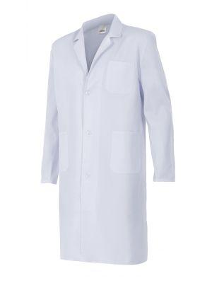 Batas médicas velilla blanca de sarga con bolsillo de algodon vista 1