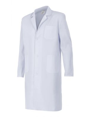 Batas sanitarias velilla blanca de sarga con bolsillo de algodon con logotipo imagen 1