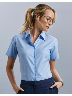 Camisas manga corta russell blusa oxford mujer para personalizar imagen 4