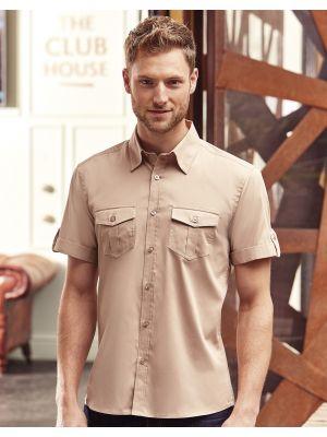 Camisas manga corta russell manga doblada con bolsillos hombre con impresión vista 2