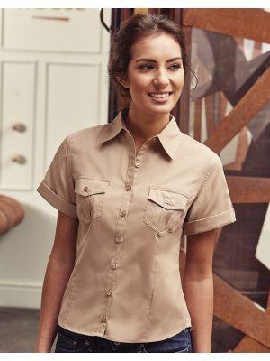 Camisas manga corta russell manga corta mujer con logo vista 3