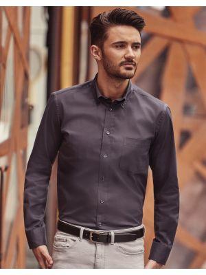 Camisas manga larga russell clásica sarga manga larga para personalizar vista 6