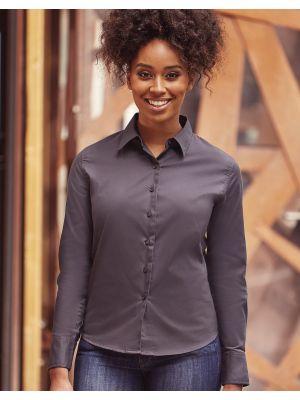 Camisas manga larga russell clásica sarga manga larga mujer vista 6
