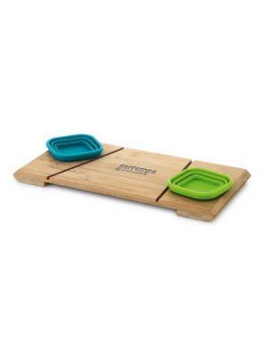 Aperitivos paprika. base de mesa con 2 piezas de bambú ecológico con impresión vista 1