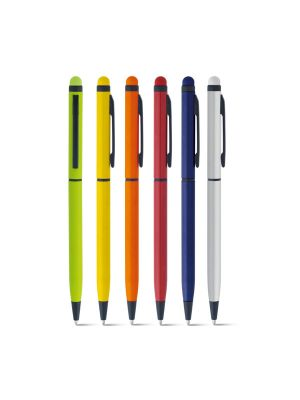 Bolígrafos puntero táctil miro de metal con logo vista 1