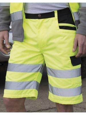 Pantalones reflectantes result corto cargo con logo vista 2
