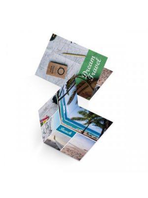 Dipticos a4 couché brillo 350gm2 impresión doble cara barniz de papel con impresión imagen 1