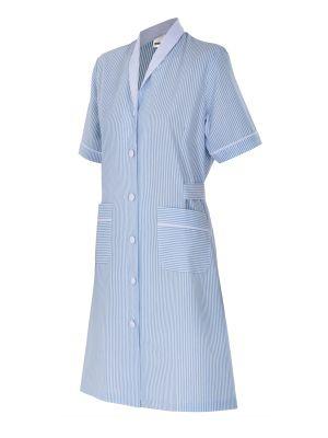 Batas médicas velilla a rayas mujer manga corta de algodon con impresión vista 1