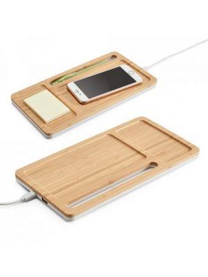 Material oficina mott. organizador de escritorio de bambú ecológico con logo vista 2